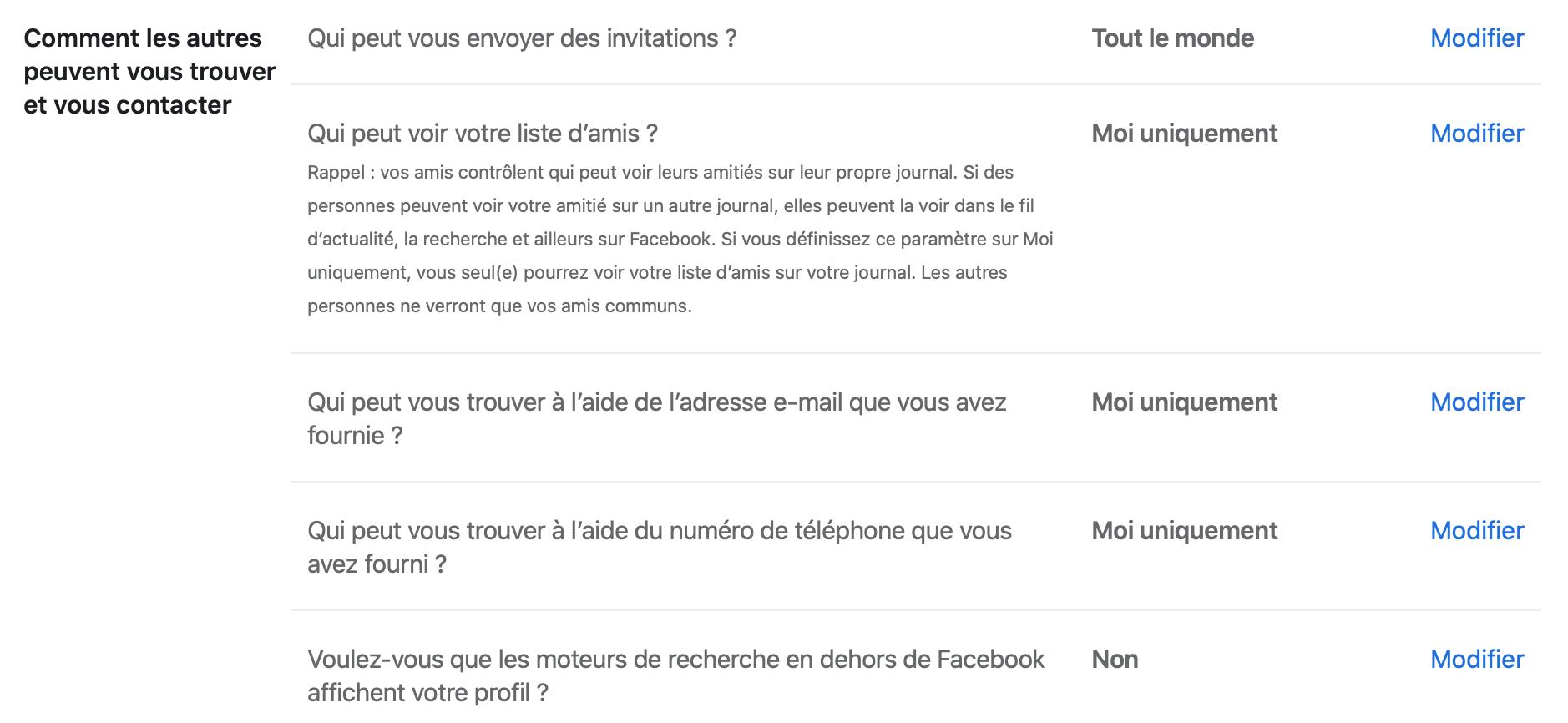 Prise de contact Facebook